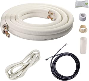 "Wostore 16 Ft. Copper Pipes 1/4&3/8 Inch 3/8"" PE for Mini Split Air Conditioner Insulated Coil Line Set HVAC with Fittings"
