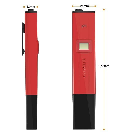 Etekcity® Medidor de PH, PH-009 PH Metro Digital, Piscina Tester Medidor (Normativa CE/FCC/RoHS), PH Meter, 0,0 a 14,0 PH, Estilo de Bolsillo Bolígrafo, ...