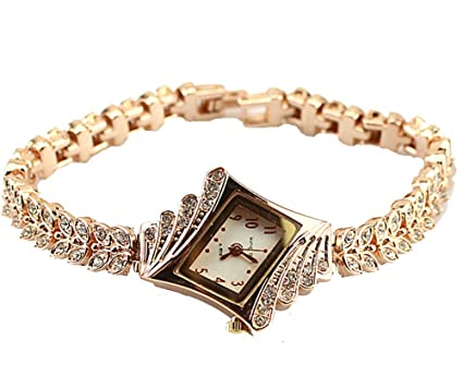 Armbanduhr damen gold  Gold Plated Armbanduhren Imitation von Diamant Uhren Elegante ...