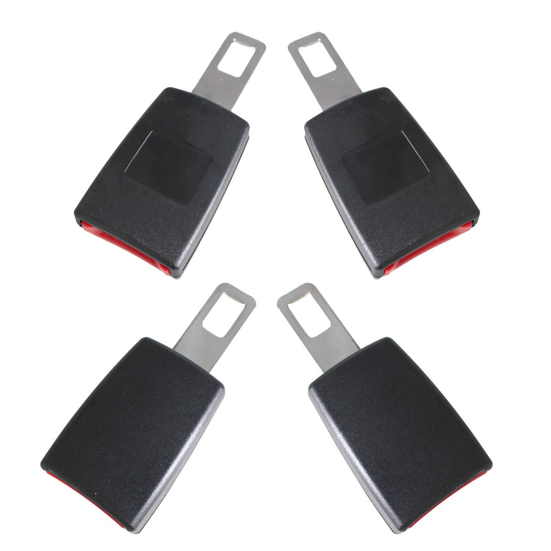 Black, 4 Pc 4 Pack Seat Belt Buckle Clip Clamp Universal Carbon Fiber Blue Spun Car Seat Belt Buckle Clip Black