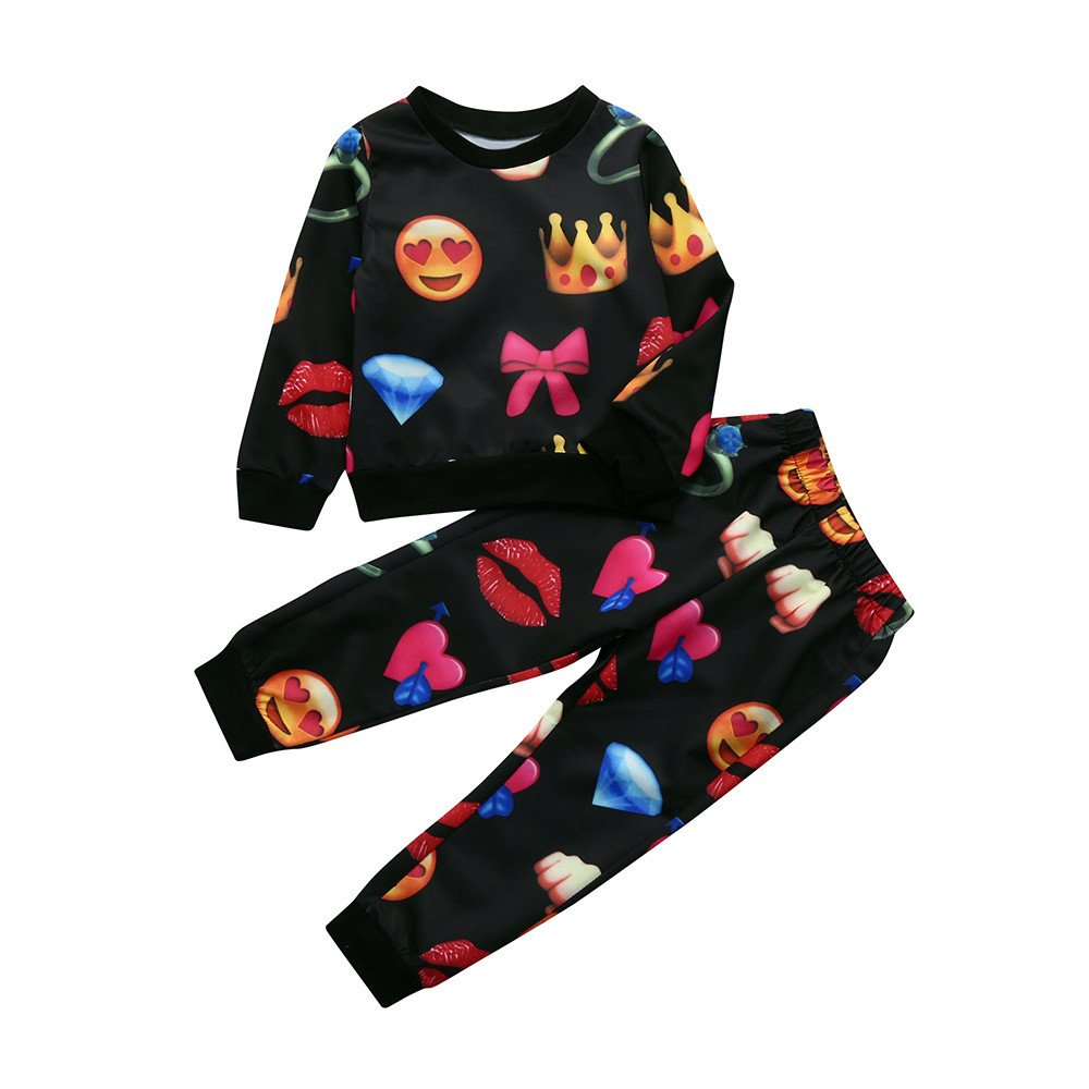 Deloito Toddler Infant Baby Kids Cute Outfits Clothes Set Emoji Print T-Shirt Tops +Pants Outfits Boys Girls Clothing Sets Age 2-8 Years Old