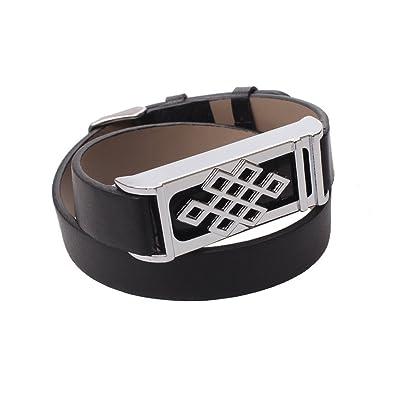 1bracelet de rechange en cuir design avec noeud chinois Argent Boîtier en métal pour Fitbit Flex/Activité sans fil Bracelet Sport Bracelet/Bracelet Fitbit Flex Sport Bras de bande (Capteur non inclus