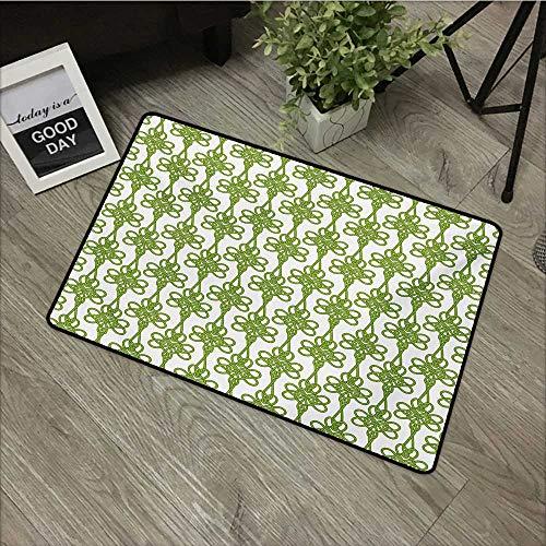 Outdoor Door mat W35 x L59 INCH Irish,Entangled Clover Leaves Twigs Celtic Pattern Botanical Filigree Inspired Retro Tile,Green Cream with Non-Slip Backing Door Mat ()