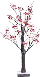 Fristmas Lighted Tree Table Lamp with Red Berries, 24 Inch Built-in Timer Battery Operated 24 LED Warm White Lights,Tabletop Snow Bonsai Tree for Home Decor Wedding Party Christmas