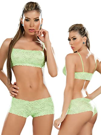 Amazon.com: Sexy Hot Green Lace Tank Crop Top Bra and Panties Set ...