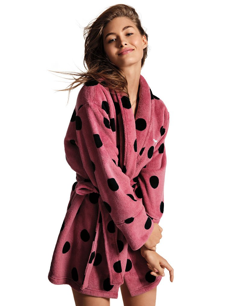 VS PINK Victoria\'s Secret Pink Limited Cozy Robe (M/L, Pure Black ...