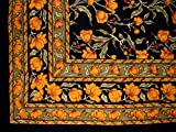 French Floral Tapestry Cotton Bedspread 106'' x 70'' Twin Amber on Black