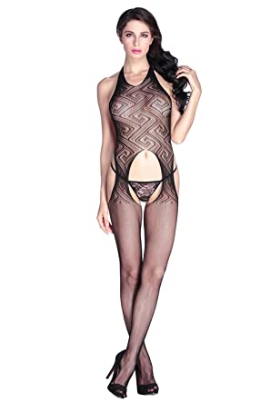Amo   Co Sexy Women Bodystocking Lingerie One Piece Sheer Lace Mesh Bodycon  Bodysuits Babydoll Nightwear c2acdc2ff