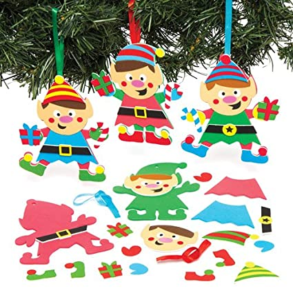 christmas elf mix match hanging decoration kits for children to make and design for xmas