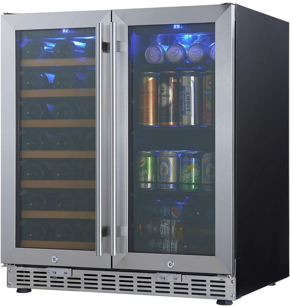 Amazon Com 30 Wine And Beer Cooler Combo 30 Inch Wide Under Counter Beverage And Wine Refrigerator Combination Built In Or Freestanding Appliances