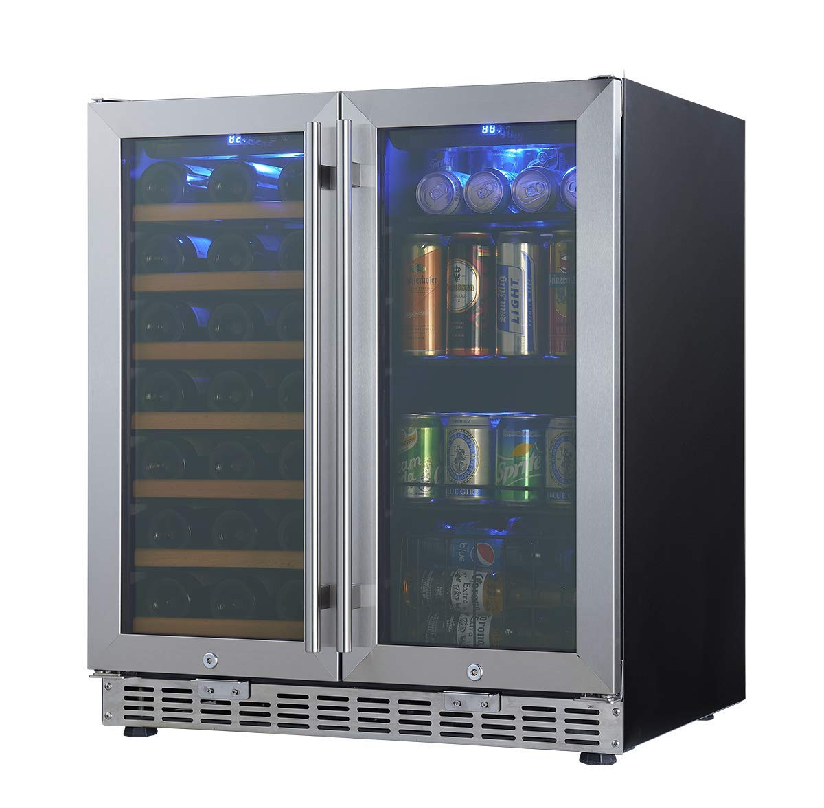 30'' Wine and Beer Cooler Combo | 30 Inch Wide Under Counter Beverage and Wine Refrigerator combination, built in or freestanding