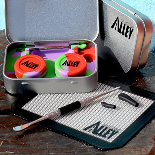Wax Carving Travel Kit [PSYCHEDELIC SERIES] - Nonstick Tin with Silicone Jar Containers 5ml (2 units) + Stainless Steel Carving Tool (1) + Mini Carver Tool (1) + Wax Mat 3'' x 5'' (1) by SILICONE ALLEY (Image #5)