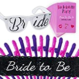 Bachelorette Party Games Kit - Bride To Be Sash, Naughty Dare Cards, Bride To Be Sunglasses, Straws