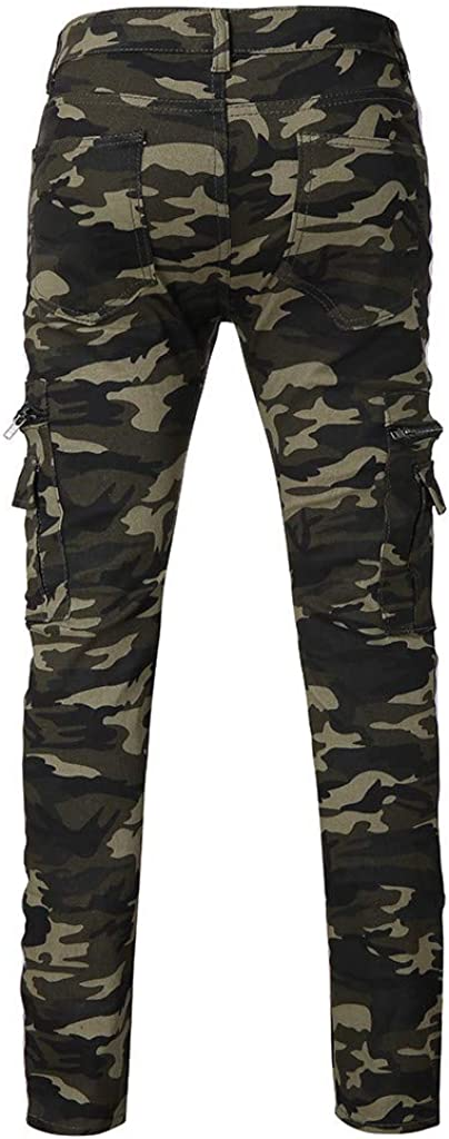 RTYou Denim Jogger Pants Mens Slim-fit Long Pant Camo Lightweight Workwear Pencil Cargo Pants with Pocket