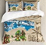 Lunarable Vintage Hawaii Duvet Cover Set King Size, Hand Drawn Tiki Dancers Surfing Sharks Turtles Tropic Inspirations Retro, Decorative 3 Piece Bedding Set with 2 Pillow Shams, Tan Blue Green