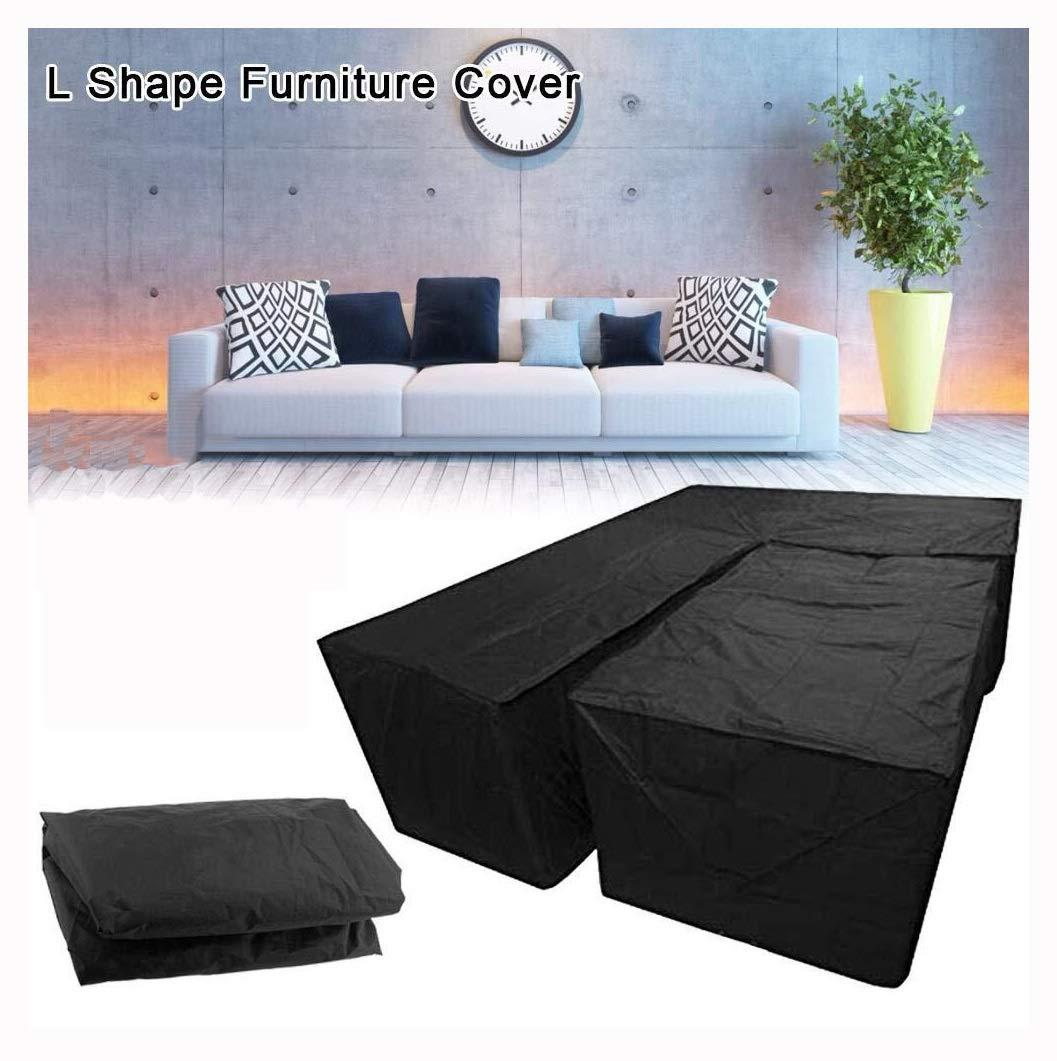 Furniture Protector L Shape Dust Cover,2PCS Waterproof Garden Furniture Cover Sofa Rattan Furniture Set Cover Protector Outdoor Garden Patio Size : Square: 155 * 95 * 68cm