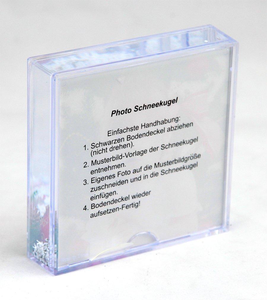Xmas Square Schneekugel 11x11 cm Bilderrahmen Fotokugel Glitzer ...