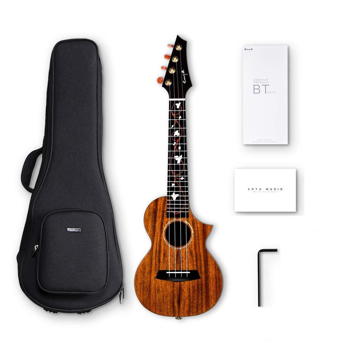 Enya EUT-M6 Cutaway Tenor Ukulele 26 Inch All Solid Mahogany with DAddario Strings Beautiful Inlay and Gloss Finish