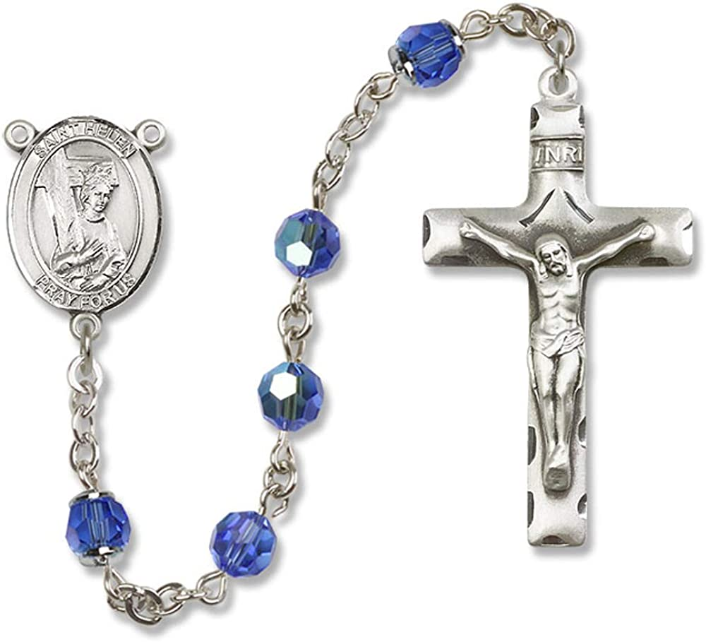 St Austrian Tin Cut Aurora Borealis Beads St All Sterling Silver Rosary with Sapphire 6mm Swarovski Helen Center Helen is the Patron Saint of Difficult Marriages//Divorce.