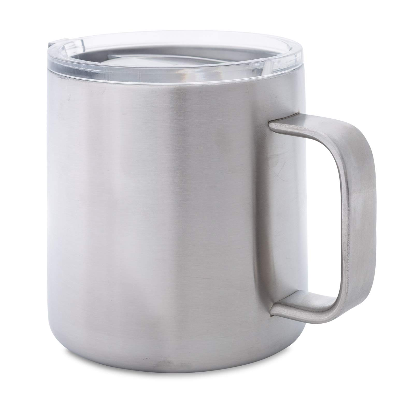 Stainless Steel Double Walled Mug: 16 oz Thick Gauge Metal Coffee Camp Cup with Lid - Insulated Mug with Handle Keeps Drinks Hot or Cold Longer - Durable, Rust Proof & Shatter Proof