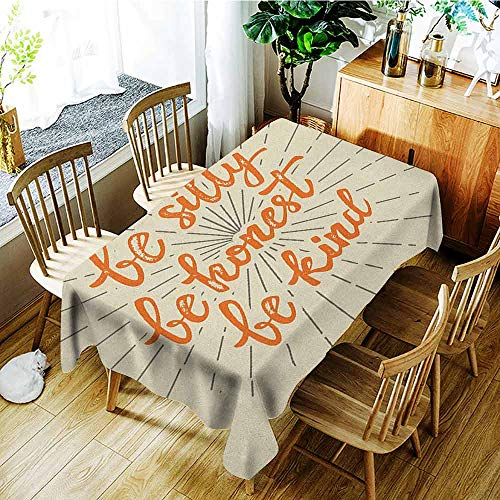 Custom Tablecloth,Quote,Table Cover for Dining,W60X90L Ivory Dark Orage and Taupe