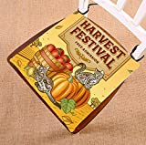 Custom Thanksgiving Cat Harvest Festival Seat Cushion Chair Cushion Floor Cushion Twin Sides 18x18 inches
