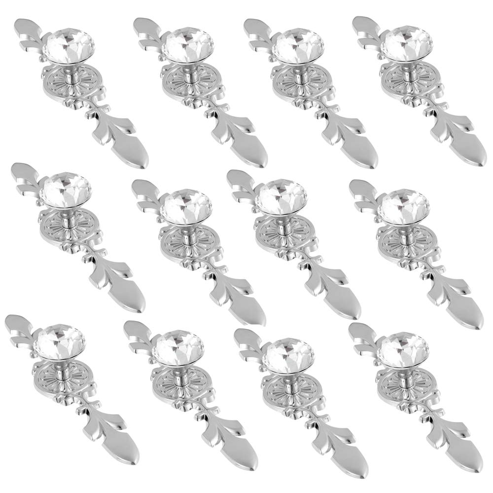 FirstDecor New Clear Crystal Glass Diamond Shape Door Knob Drawer Pull Handle for Cabinet, Drawer, Cupboard, Wardrobe Home Decoration (Set of 12)