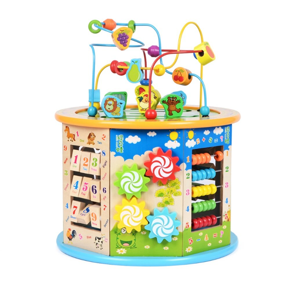 Baby Classic Toys Kids Wooden Rollercoaster Beads Early Learning Educational Toys Suitable for Toddlers - Maze Toy Beas (Color : D)