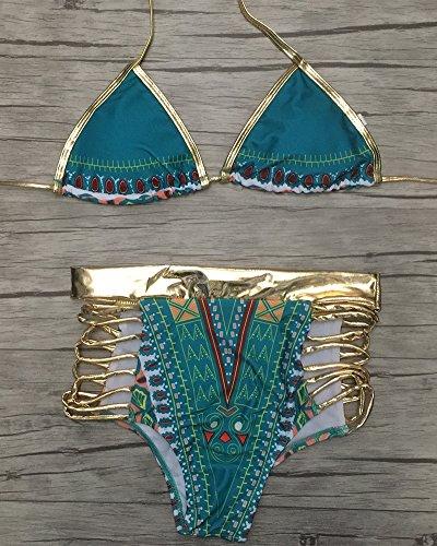 Mujeres Cintura Alta Push Up Conjunto de Bikini Traje De Baño Vintage Floral Impreso Bañadores Cintura Alta Verde 1