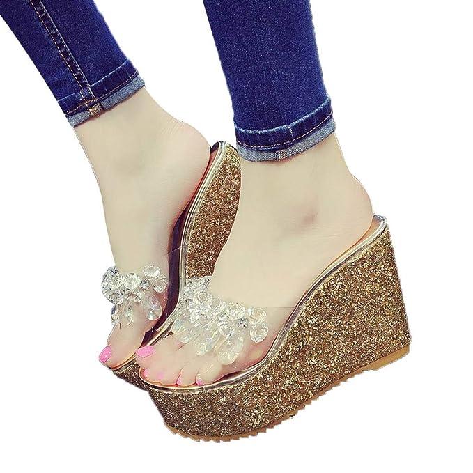 59f844cf92c Women Casual Summer Platform Shoes Wedges Flip Flops High Heel Sandals  Outdoor Slippers (Gold