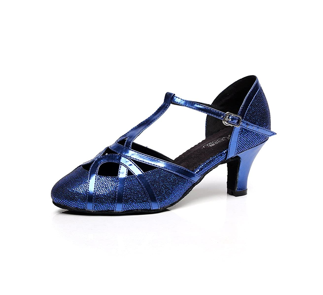 JSHOE Femmes Closed JSHOE Toe Talon Tango Haut Closed PU Cuir Paillettes Salsa Tango Ballroom Latine T-Strap Chaussures De Danse,Blue-heeled6cm-UK7/EU41/Our42 - cea6a0d - fast-weightloss-diet.space