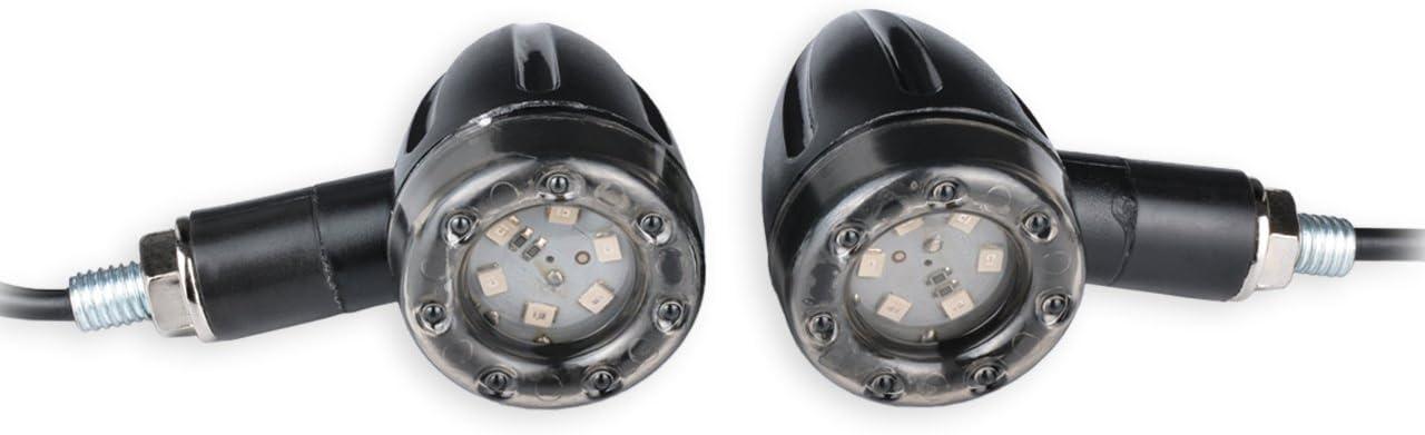 KaTur Schwarz Motorrad Bullet Vorne Hinten Turn Signal Light Indikatoren Stop Light Amber f/ür Harley Motorrad Cruiser Chopper Bobber