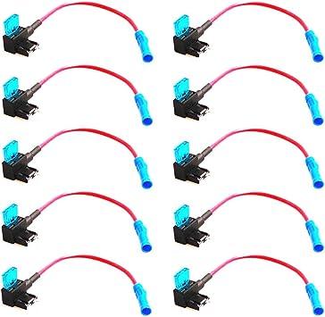 ESUPPORT 12V 24V ATM APM Add A Circuit Fuse Tap Piggy Back Mini Fuse Style Blade Holder Plug Pack of 5