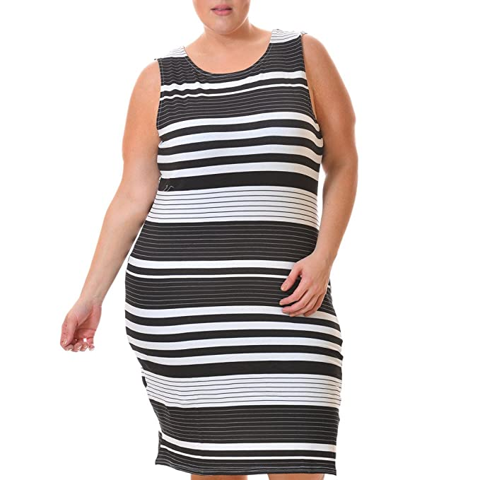 Love Collection Striped Dress for Women, Plus Size, Bodycon, Sleeveless