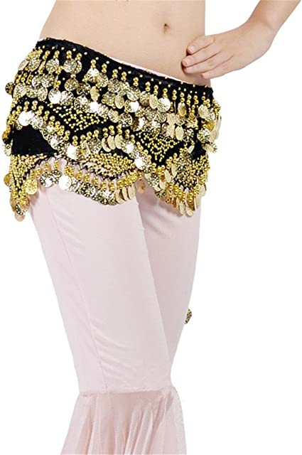 3 Rows Belly Dance Costume Hip Scarf Tribal Hip Belt Skirt Silver Gold Coins USA