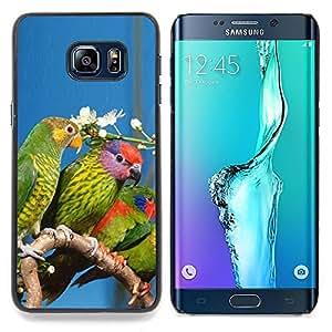 """Qstar Arte & diseño plástico duro Fundas Cover Cubre Hard Case Cover para Samsung Galaxy S6 Edge Plus / S6 Edge+ G928 (Loros verde selva tropical de la flor blanca Naturaleza"""")"""