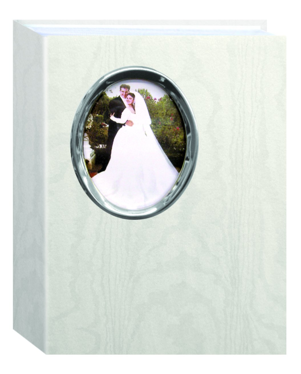 Pioneer Bound Wedding Photo Album White with Silver Oval Framed Cover, Holds 200 4x6'' Pictures, WAF-46