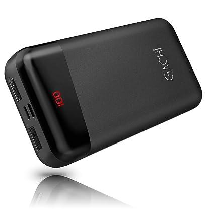 GACHI Powerbank 26800mAh Batería Externa para Móvil Cargador Portátil de Alta Capacidad con Pantalla Digital LED, 2 Salidas USB y 3 Entradas, ...
