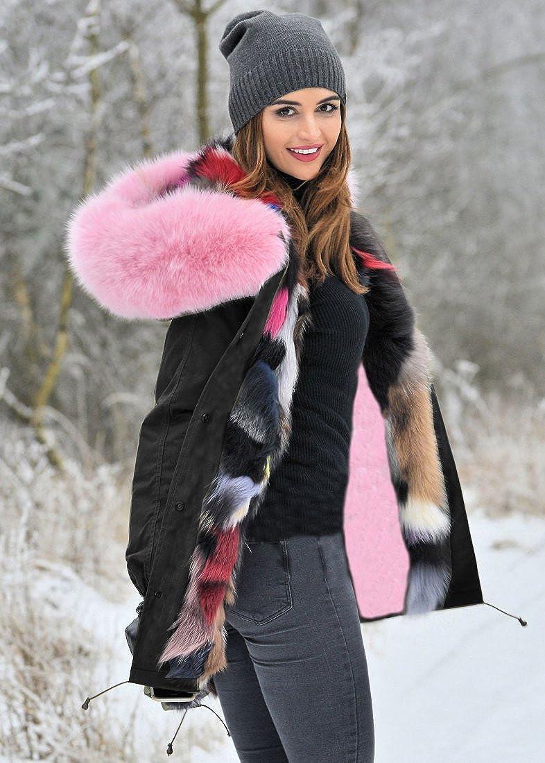 Aox Femme Manteau Hiver Chaud Fausse Fourrure Veste Épais Blousons Duvet Capuche Jaquette Militaire Style Parka Doux Anorak Capote Pink Black