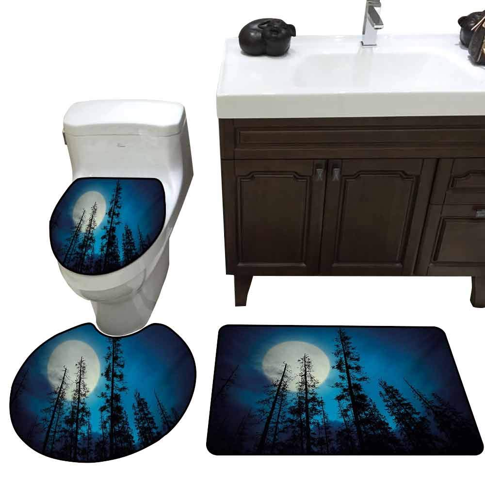 Toilet Cover pad Set of 3 Dark Blue Low Angle View of Spooky Mysterious Forest with Tall Trees Big Full Moon Elongated Toilet Lid Cover Set Blue Black White