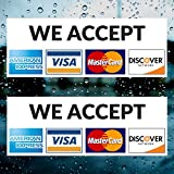 Credit Card Vinyl Sticker Decal (LANDSCAPE) - 2 PACK - We Accept - Visa, MasterCard, Amex and Discover - 8' x 3' Vinyl Decal For Window - Shop, Cafe, Office, Restaurant