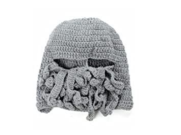 1ce8f9c5ec6 Amazon.com  Hair Decor Fashion Men Women Handmade Double-lined Knitting Yarn  Octopus Hat Beard Cap Light Grey  Beauty