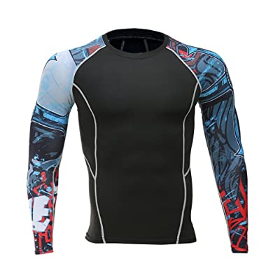 Add Muscle Male Tight t-Shirts Long Sleeve Printed On Both Sides Of Fitness Base Layer Weights To Wear 121 L