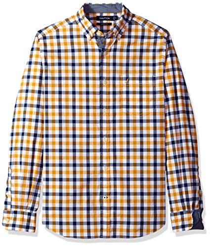 Nautica Mens Long Sleeve Tattersal Plaid Button Down Shirt