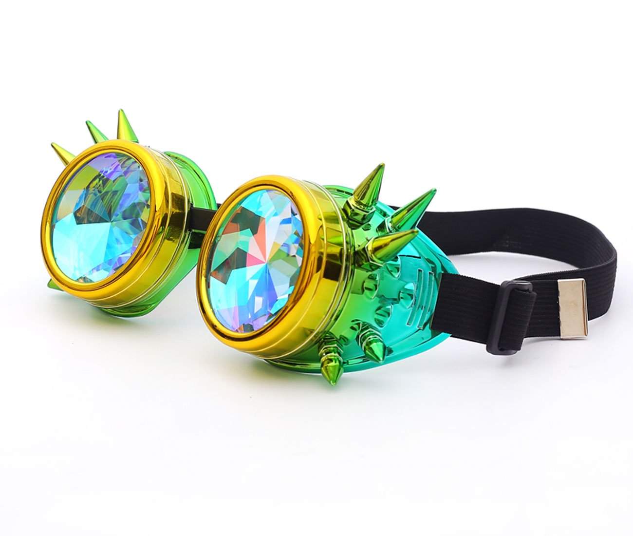 c7c81e1e72f7 Focussexy Spiked Goggles Kaleidoscope Steampunk Rave with Crystal Glass Lens