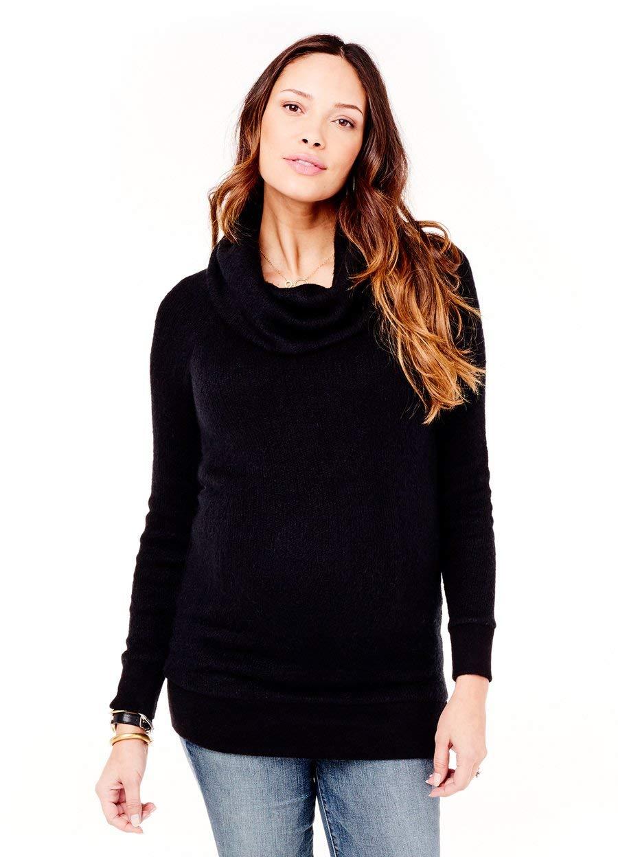 Ingrid & Isabel Women's Maternity Cowl Neck Sweater Tunic, Jet Black, Medium by Ingrid & Isabel