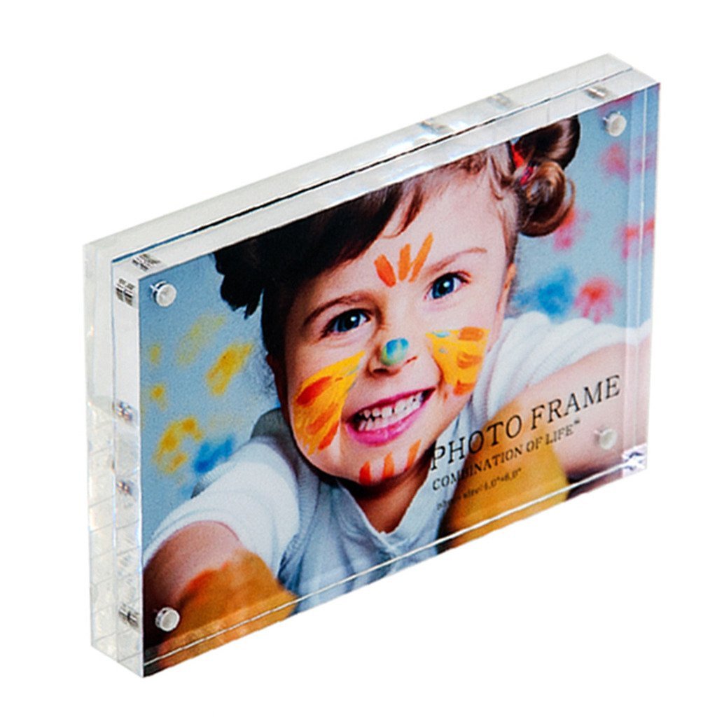 Combination of Life Acrylic Photo Frame 4x6 inches Magnet Photo Frame 10 + 10MM Thickness Clear QS-PFB-15