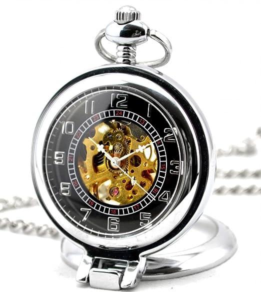 Infinite U Hueco Esqueleto Ángulo Recto Lupa Acero Reloj de bolsillo Movimiento Mecánico Plateado: Amazon.es: Relojes