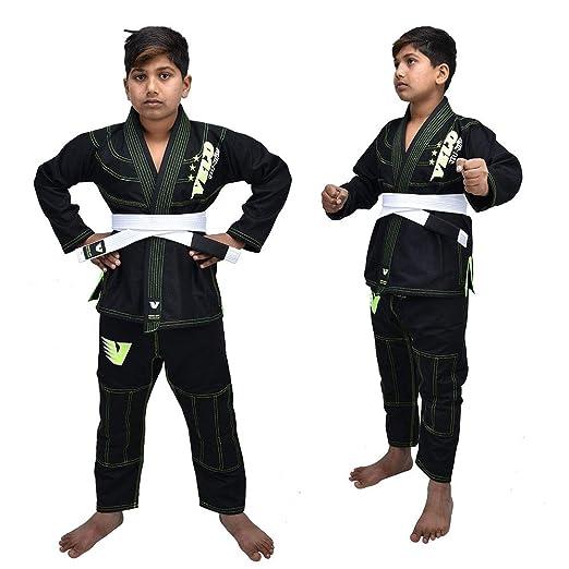VELO Kids Jiu Jitsu BJJ - Sudadera brasileña para jóvenes de Artes Marciales preencogida cinturón Blanco Gratis