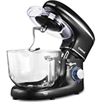 CHULUX Electric Stand Mixer, 660W Tilt-Head Kitchen Electric Food Mixer with Low Noisy, 5.5Qt Glass Bowl, 6 Speed Control, Dough Hook, Whisk, Beater, Splash Guard, for Cake, Bread, Salad